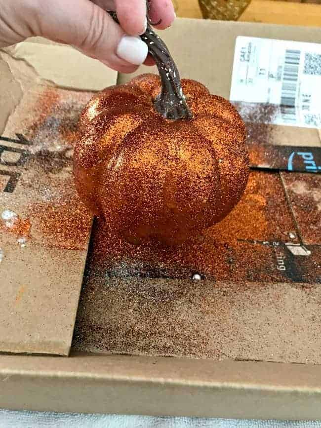 DIY glitter pumpkin on box