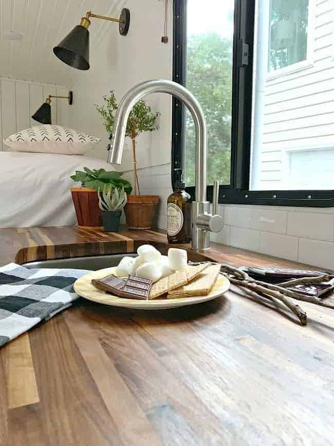 RV butcher block countertop with plate full of s'more fixings for Cottage Musings for October 2018