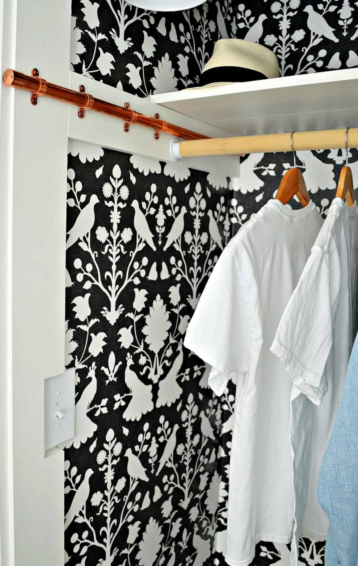copper clothes rod in small closet with wallpaper