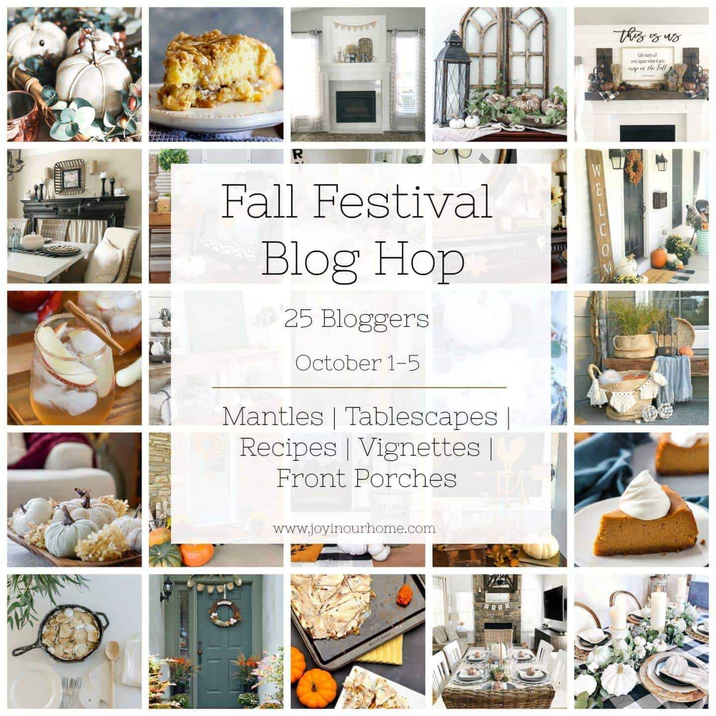 collage of fall festival blog hop participants with large graphic