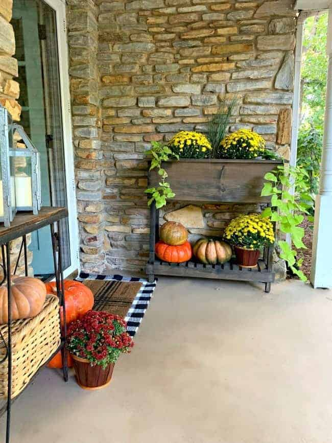 front porch fall decor with a planter filled with mums and pumpkins on a bottom shelf