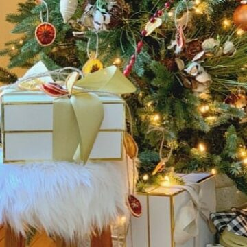 wrapped gift sitting on furry stool