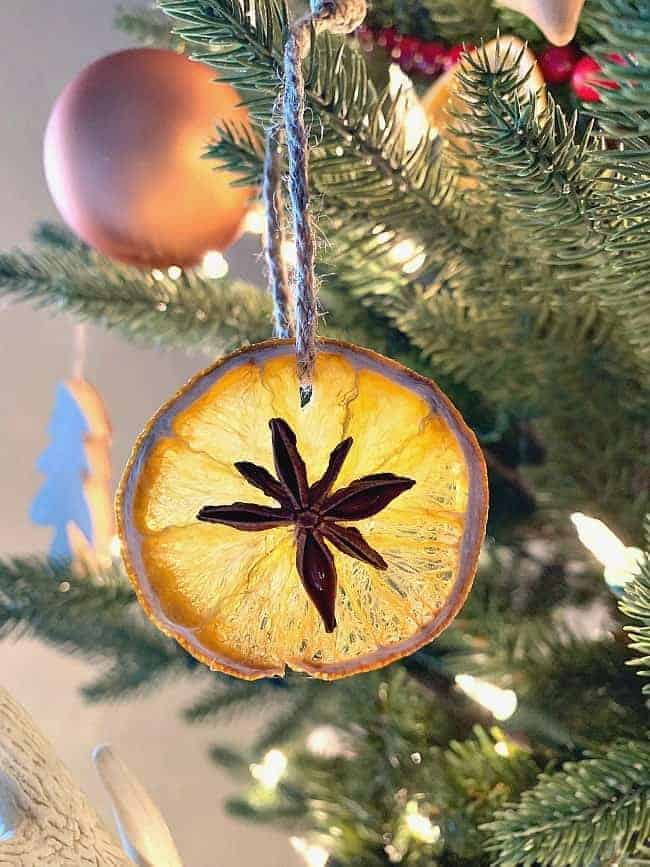 dried orange slice ornament with star anise