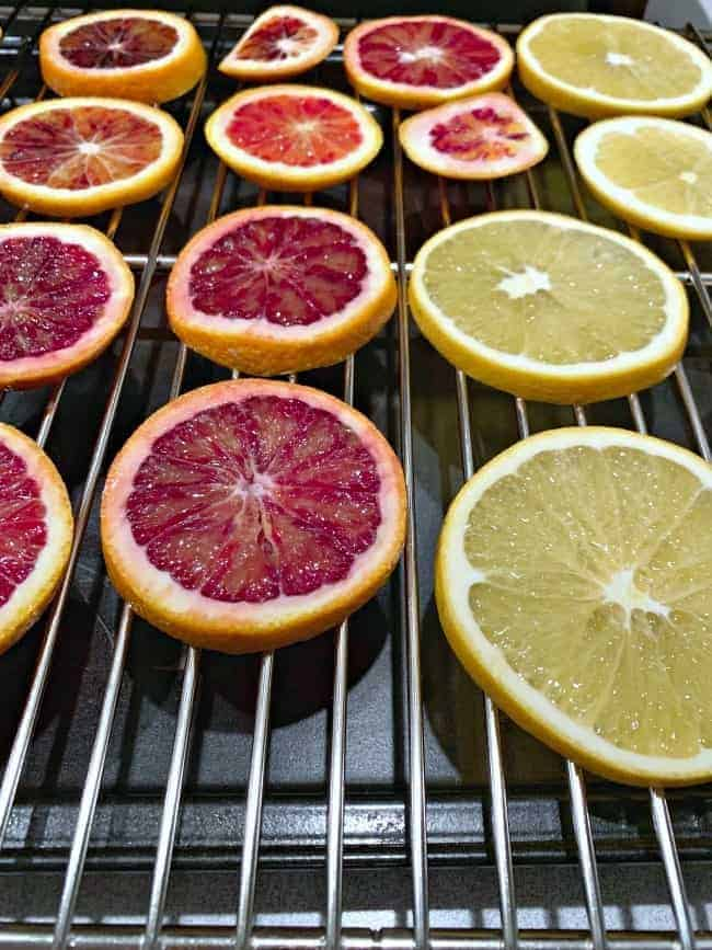 blood orange and orange slices on cookie rack
