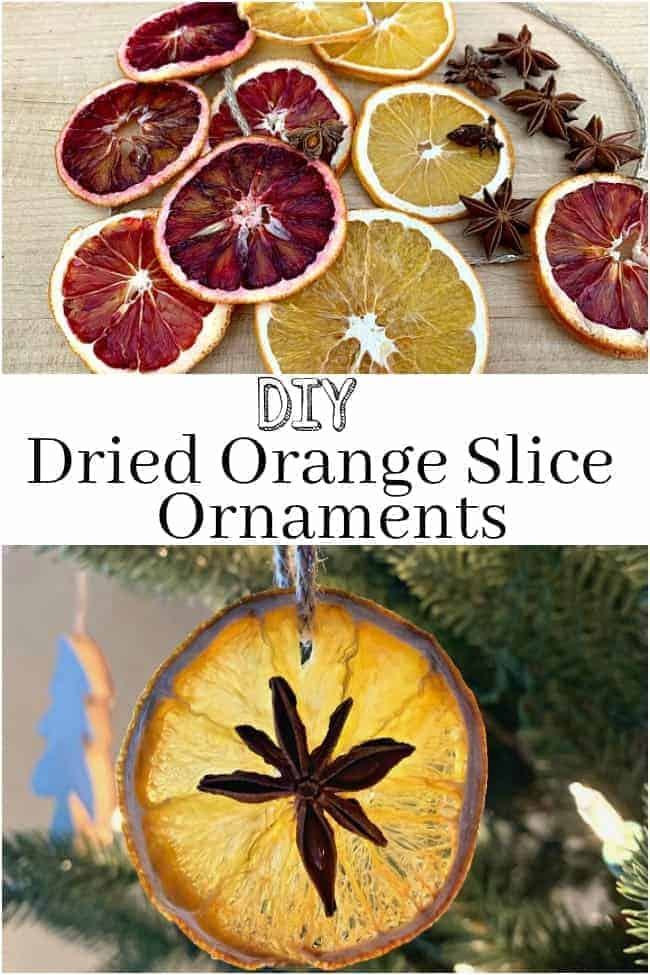DIY dried orange slice ornaments hanging on Christmas tree next to a pinecone, plus a large graphic
