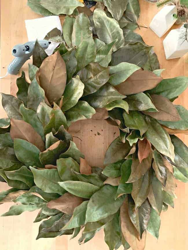 top view of completed DIY magnolia leaf wreath