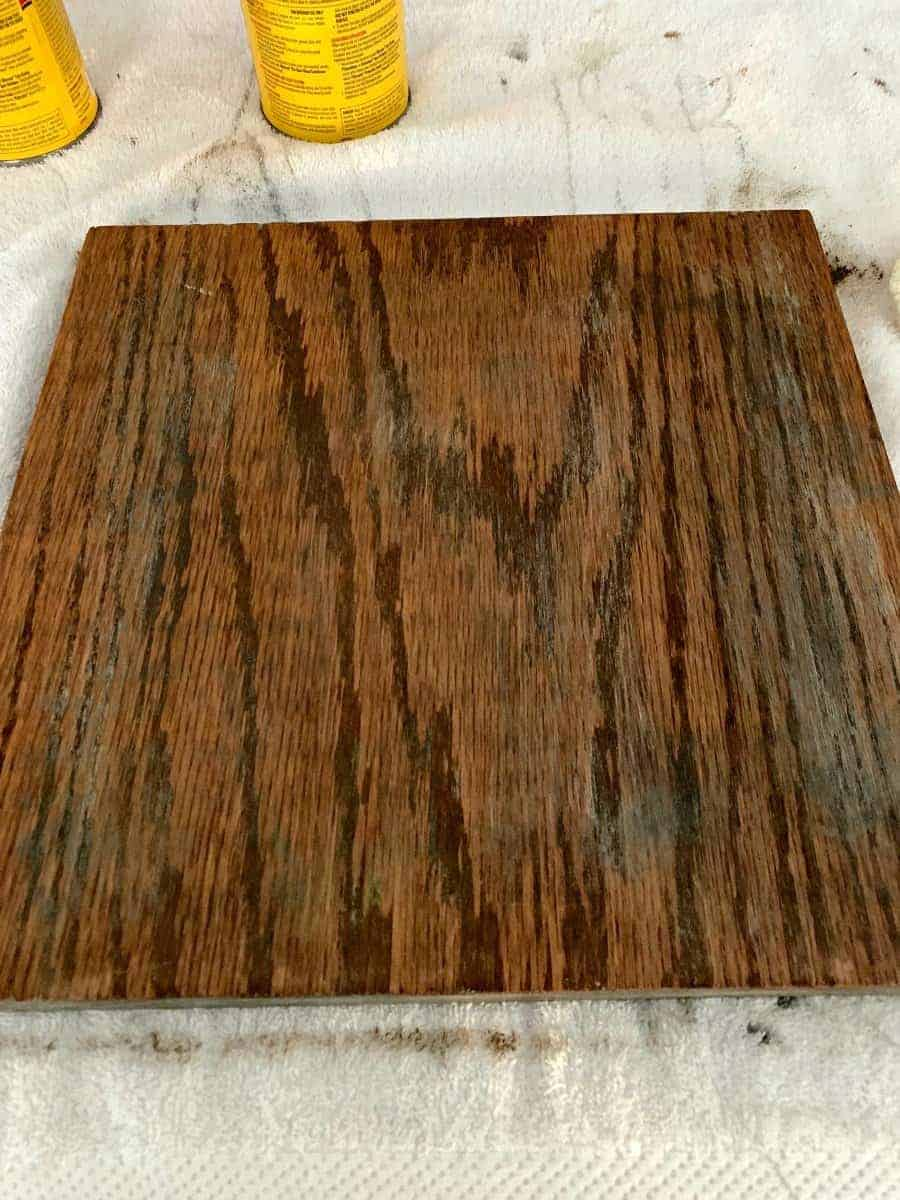 piece of oak wood after stain is applied