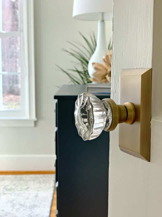 glass and brass doorknob for guest bedroom makeover.
