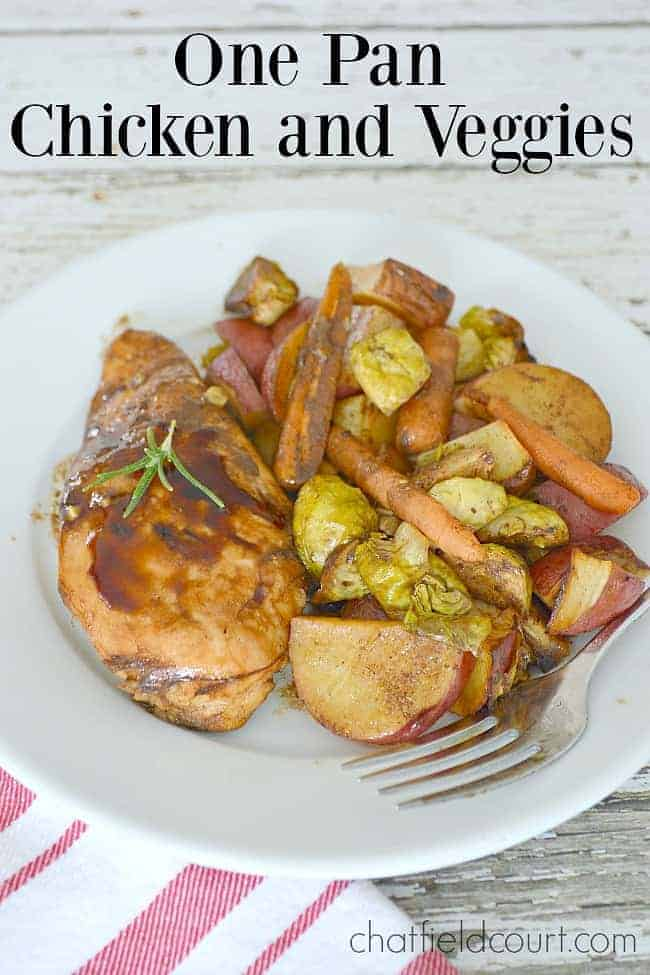balsamic chicken and roasted vegetables on a white plate
