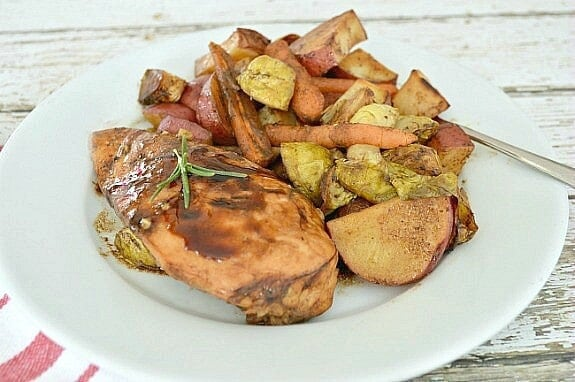 One Pan Balsamic Chicken and Roasted Vegetables