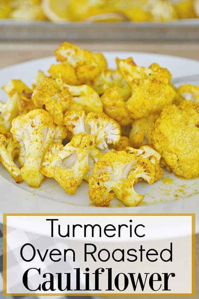 turmeric oven roasted cauliflower on plate