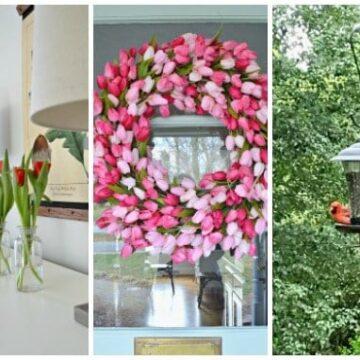 pik tulip wreath hanging on a door
