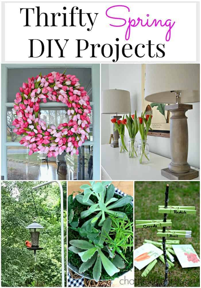 collage of thrifty spring DIY projects including a tulip wreath and garden markers