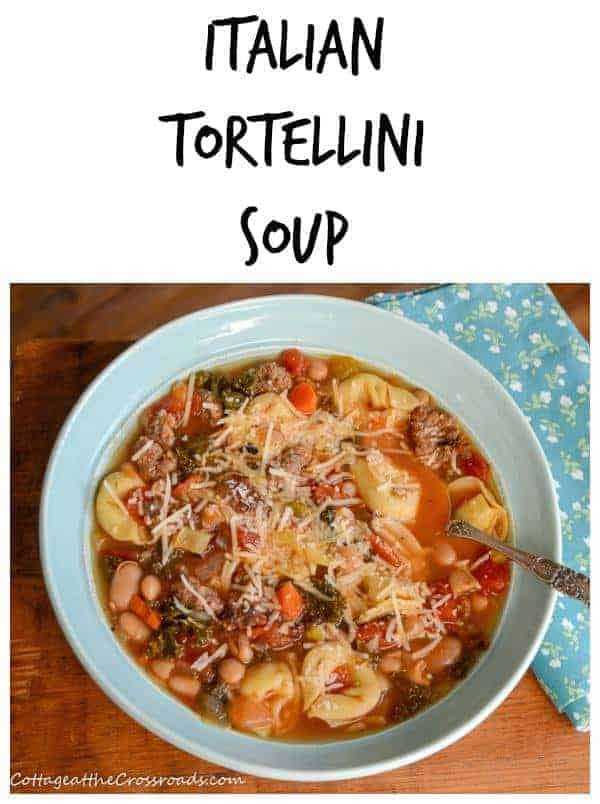 Italian tortellini soup in a blue bowl with a spoon