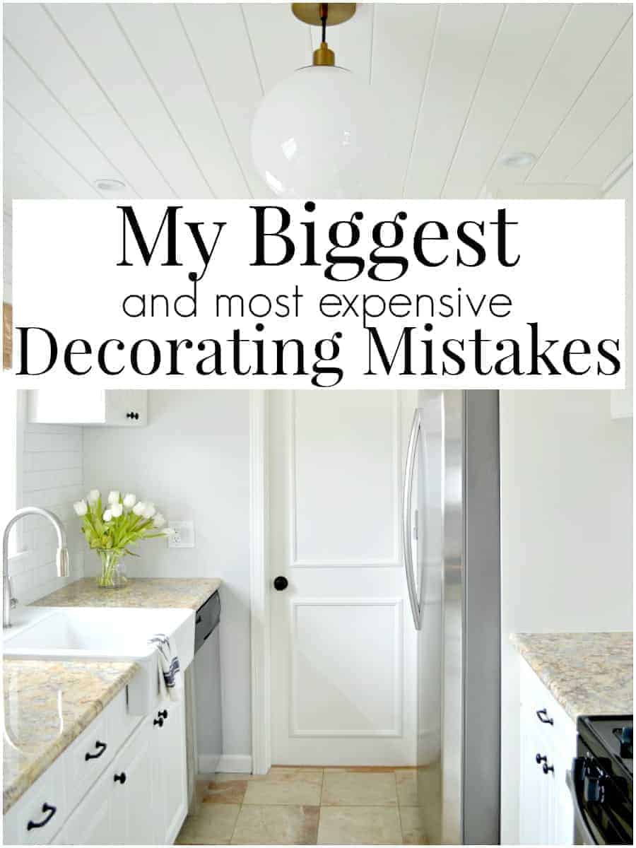 image of white galley kitchen with biggest decorating mistakes graphic