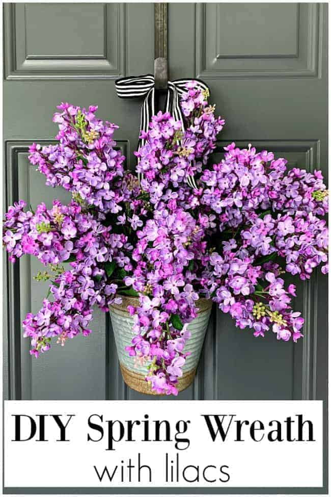 diy spring wreath with lilacs hanging on dark charcoal door, and large graphic