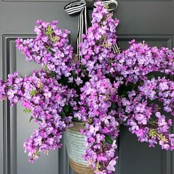 A bouquet of lilacs on a door