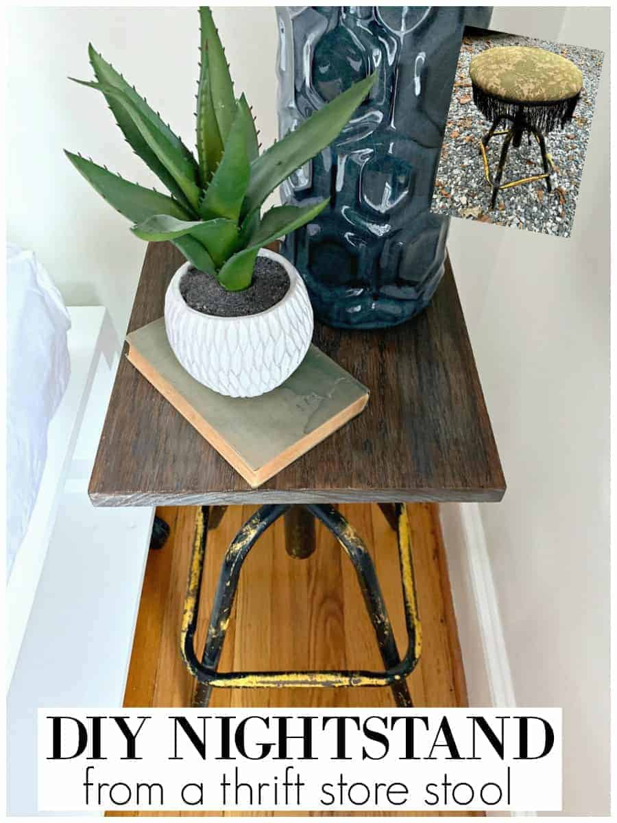 completed picture of easy DIY nightstand in corner of guest bedroom with plant on book and blue lamp