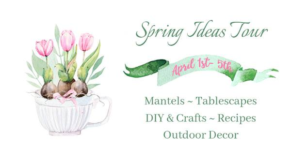 spring ideas tour graphic with cup of tulips