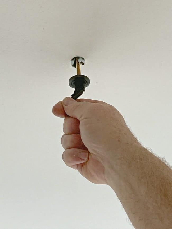 putting a toggle bolt in a ceiling