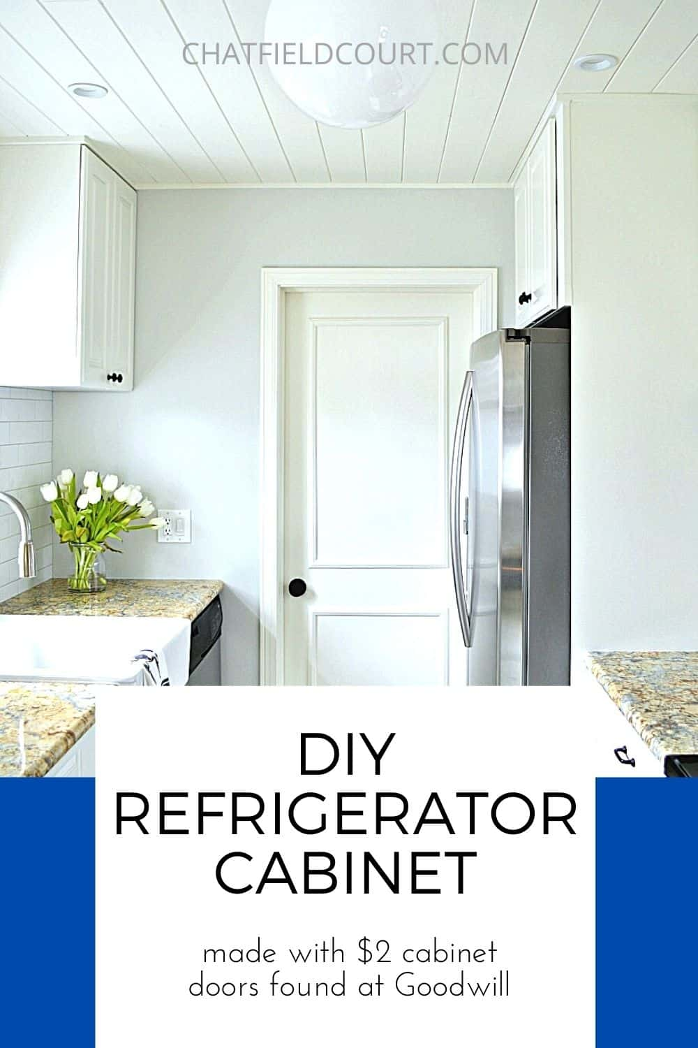 DIY refrigerator cabinet in a remodeled white kitchen