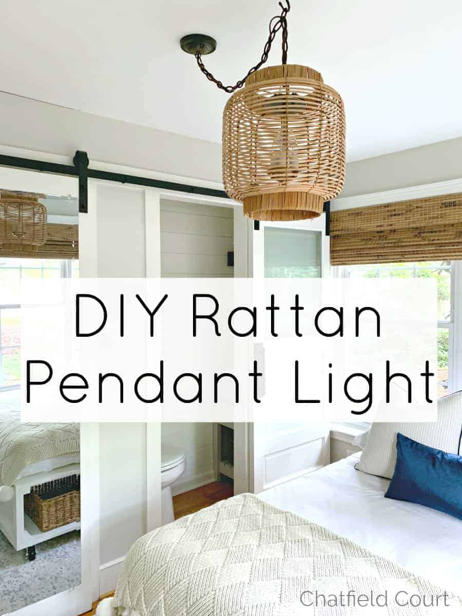 DIY hanging lamp hanging in the middle of a guest bedroom