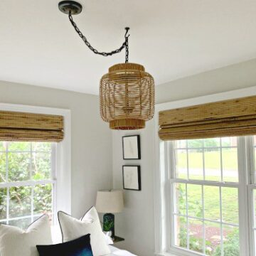 DIY hanging lamp made from a rattan lantern in guest bedroom