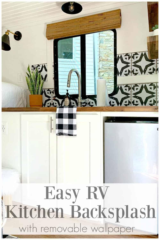 view of RV kitchen backsplash and kitchen cabinets