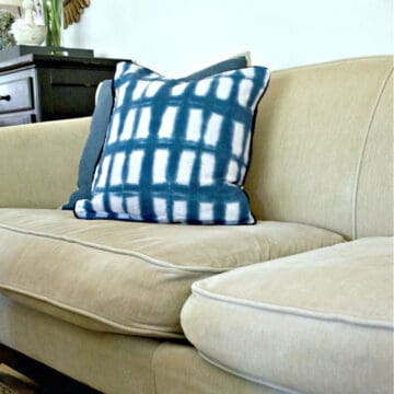 sagging sofa cushion on beige couch