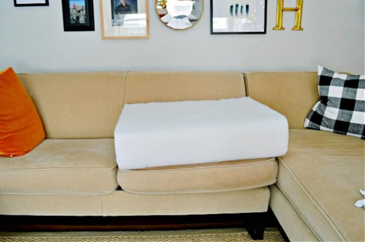 new couch cushion foam on top of sagging cushion