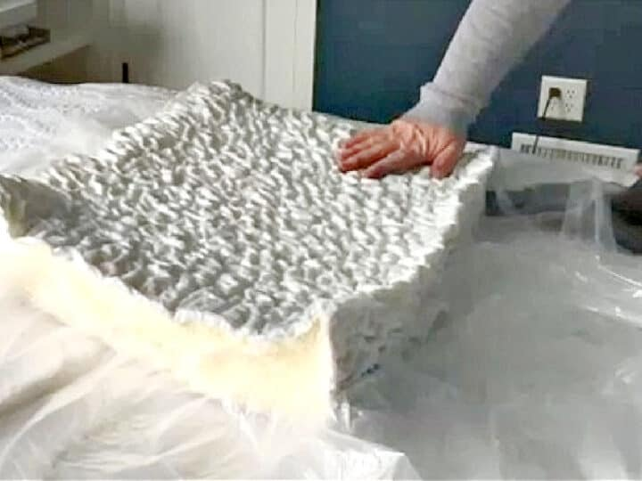 using a vacuum to shrink a cushion