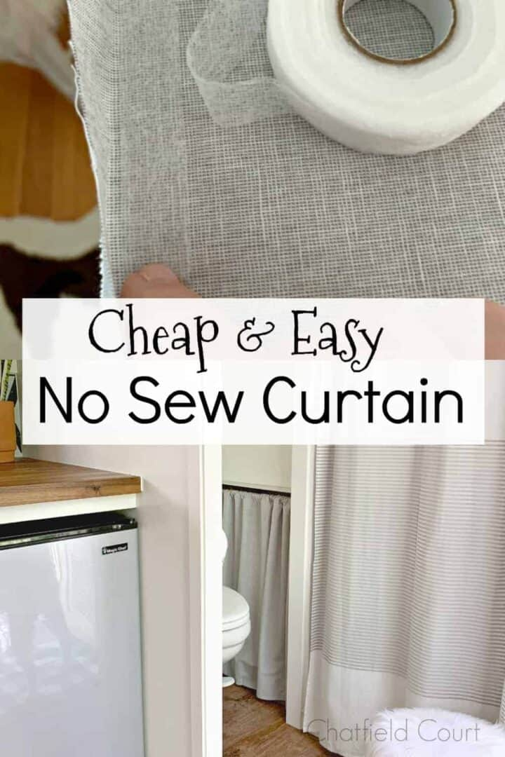 double pic of making no sew curtain and completed no sew curtain, with a large graphic