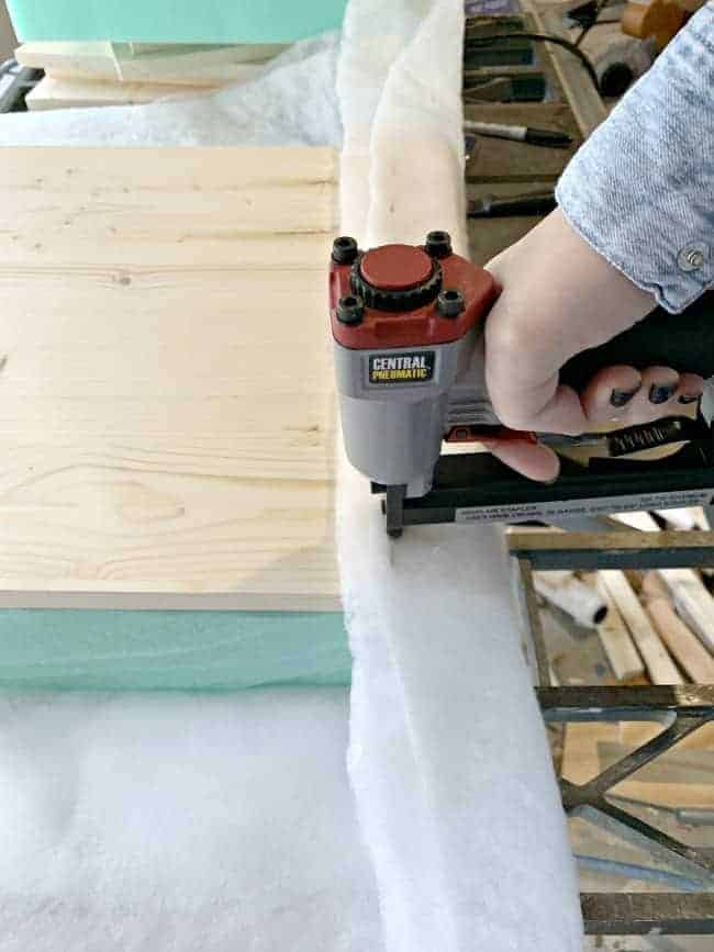 stapling quilt batting over foam on storage ottoman's lid