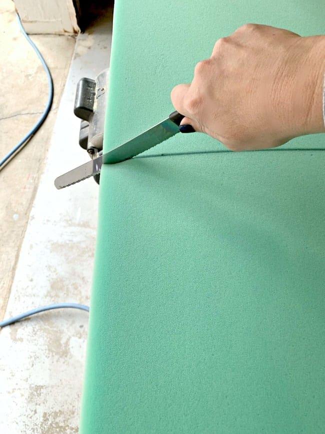 using a serrated knife to cut foam