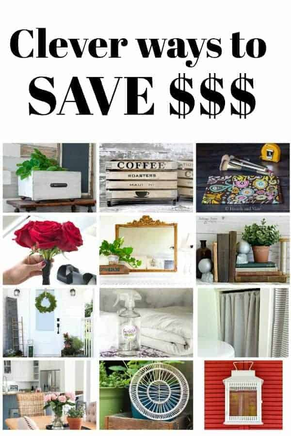 collage of thrifty diy projects and large graphic