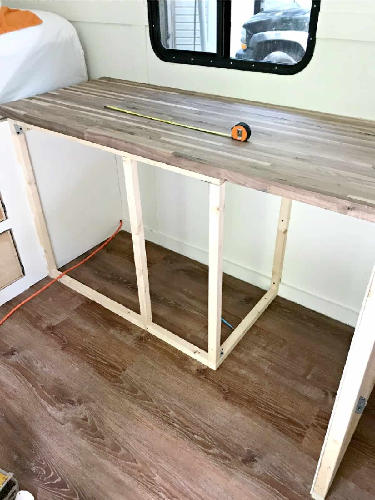 RV kitchen cabinet frame and countertop