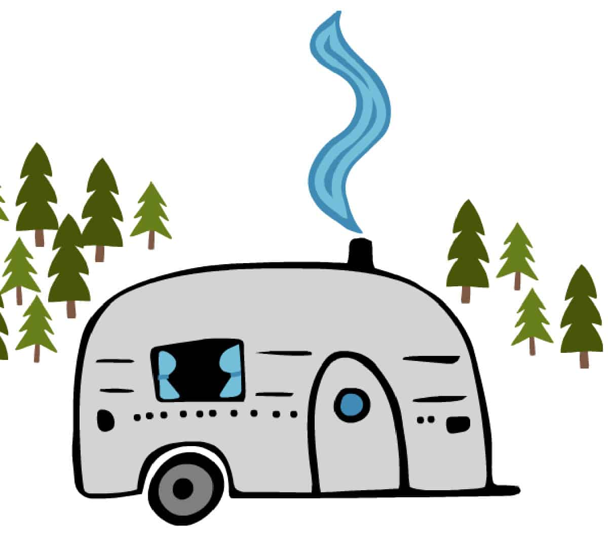 graphic with RV and pine trees