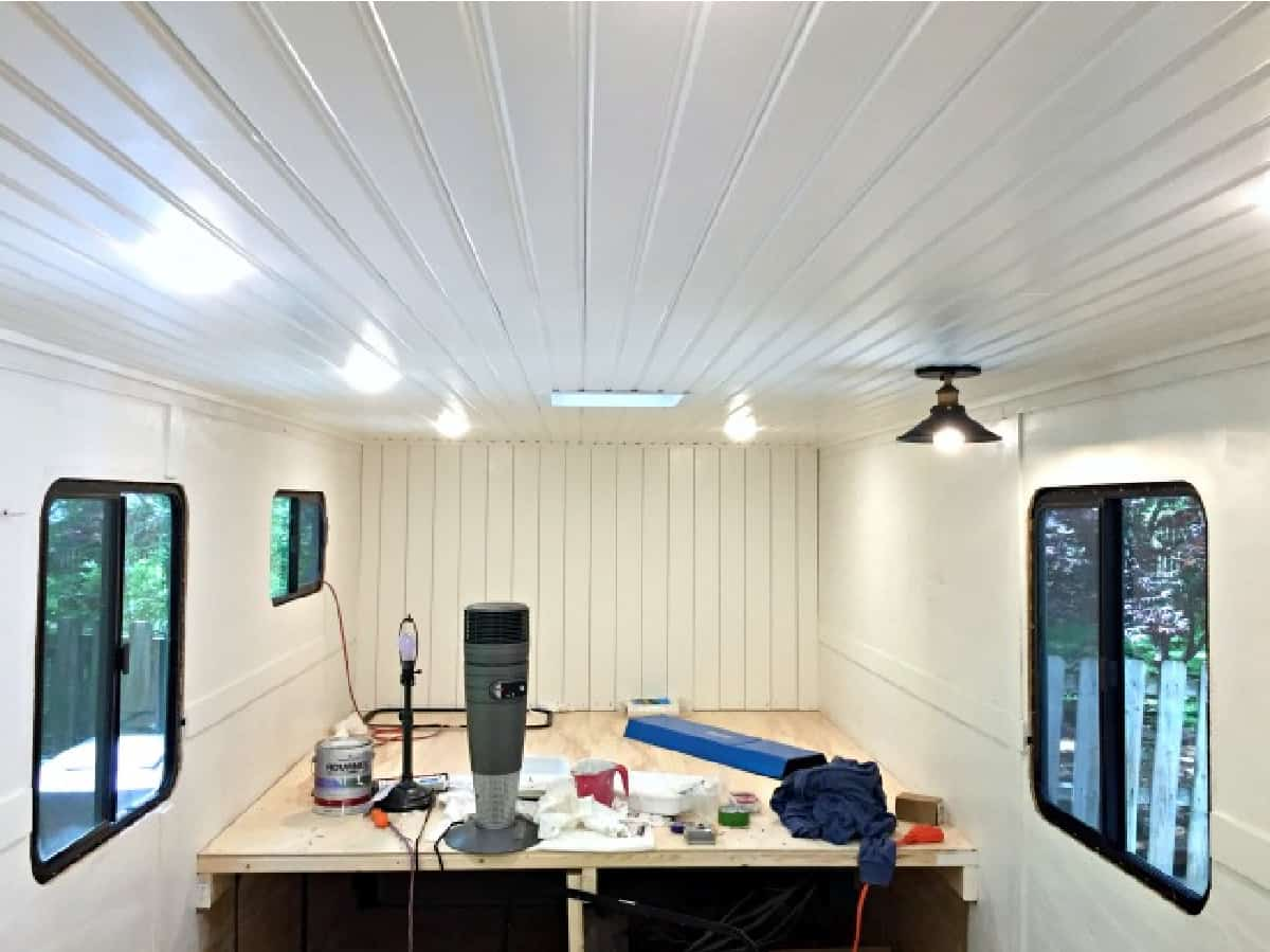 white RV ceiling with disc lights installed