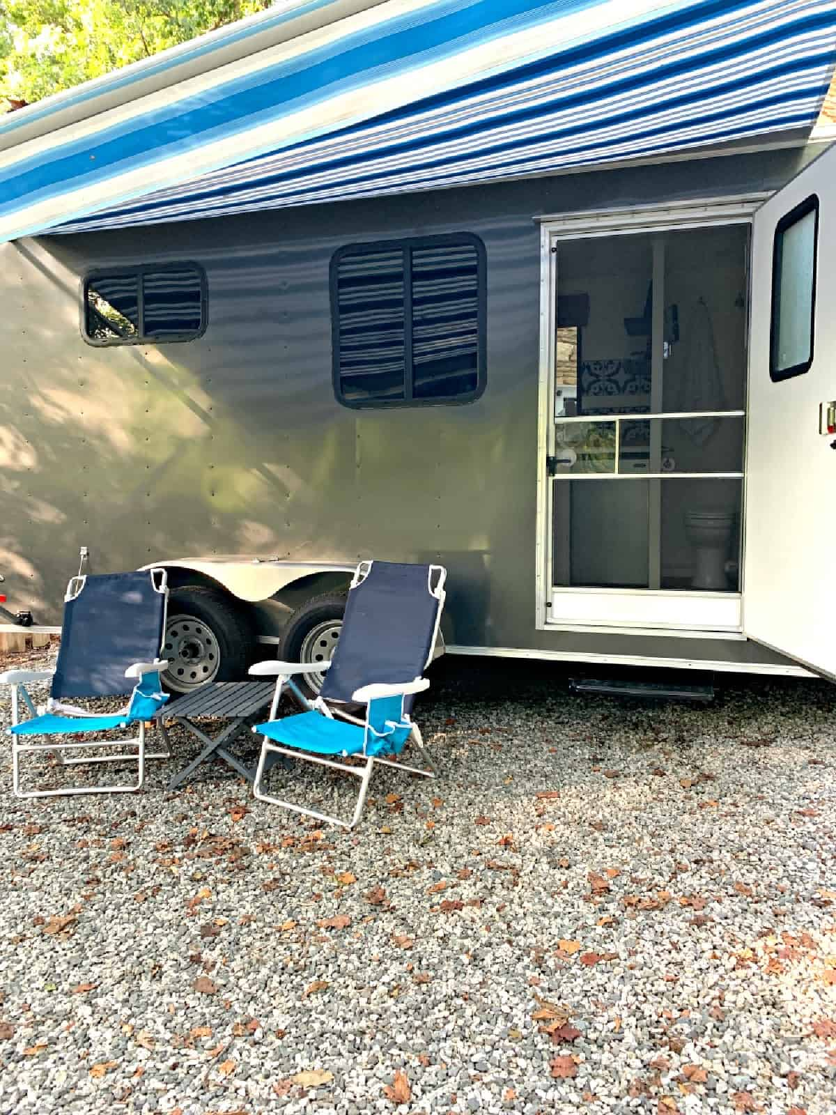 beach chairs and cargo trailer conversion