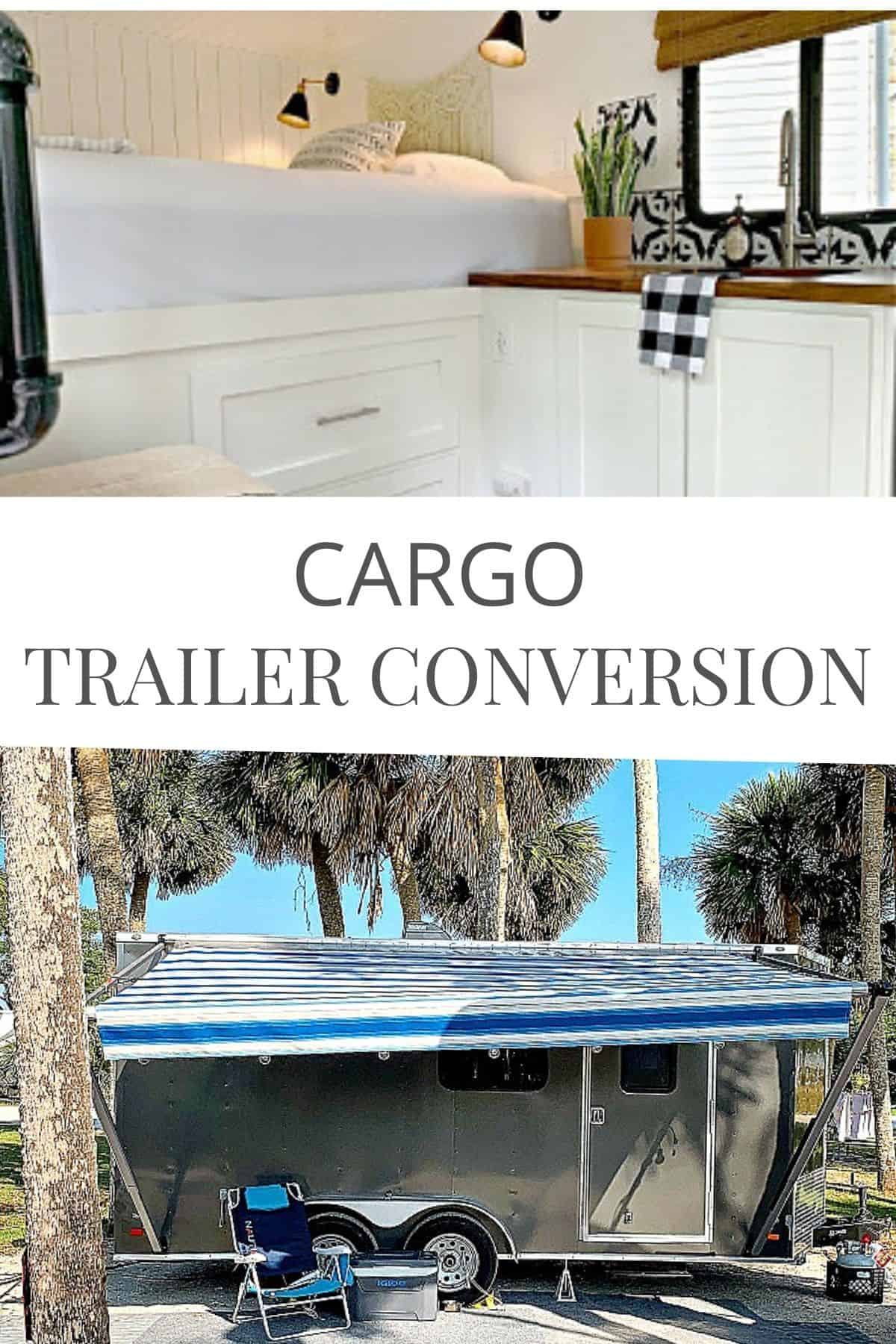 white kitchen inside a cargo trailer conversion and an outside campsite