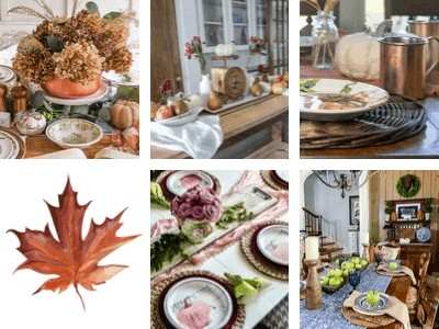 collage of 5 fall tablescapes
