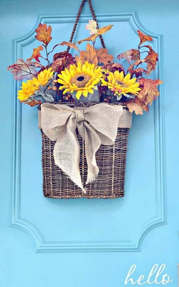 Fall Front Door Basket Wreath