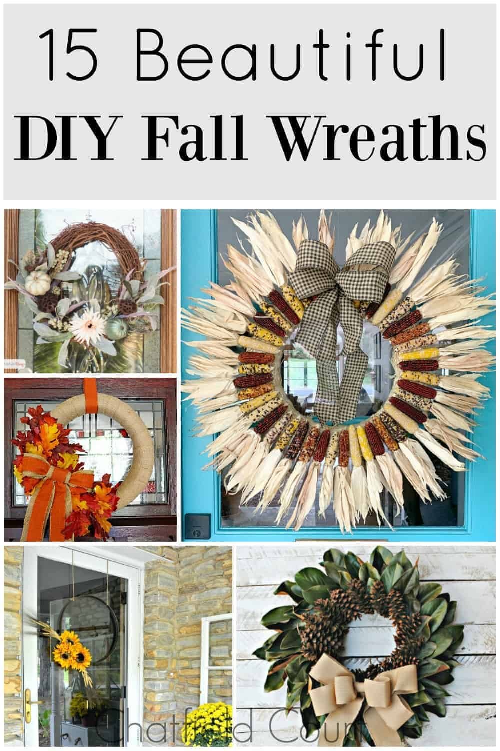 collage of DIY fall wreaths with a large graphic