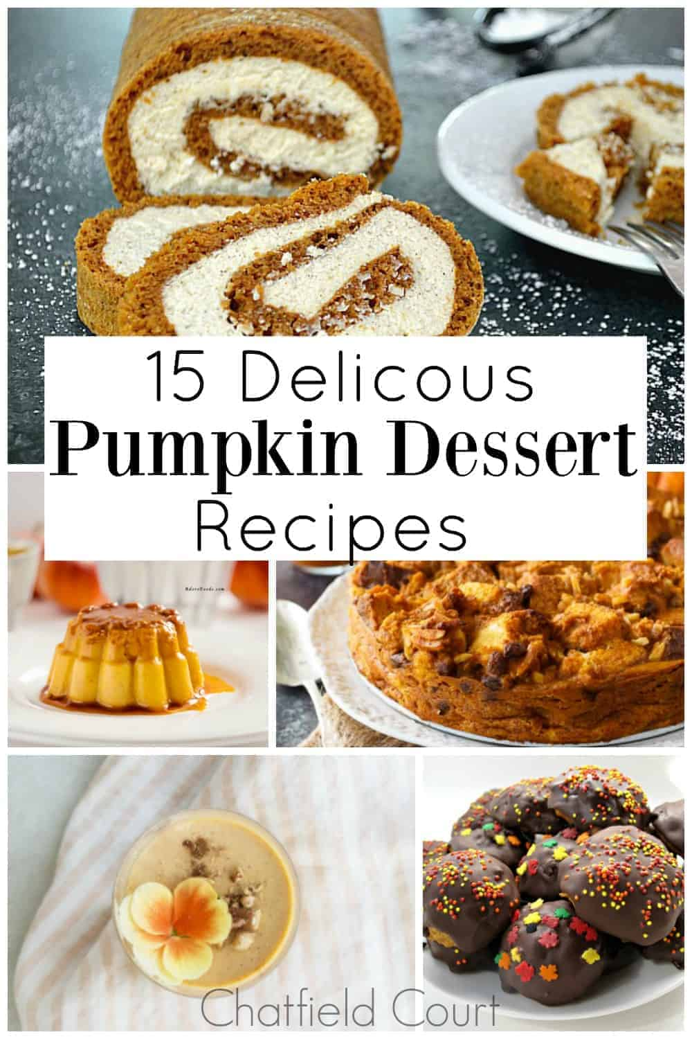 collage of different pumpkin dessert recipes with a large graphic