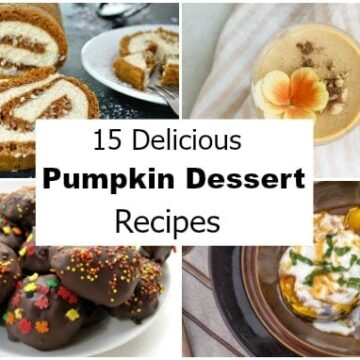 collage of 4 pumpkin desserts with a large graphic