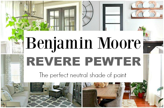 collage of rooms painted in BM Revere Pewter with a large graphic