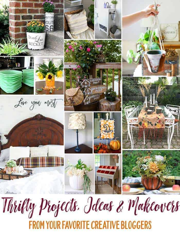 thrifty style team collage of DIY projects with large graphic