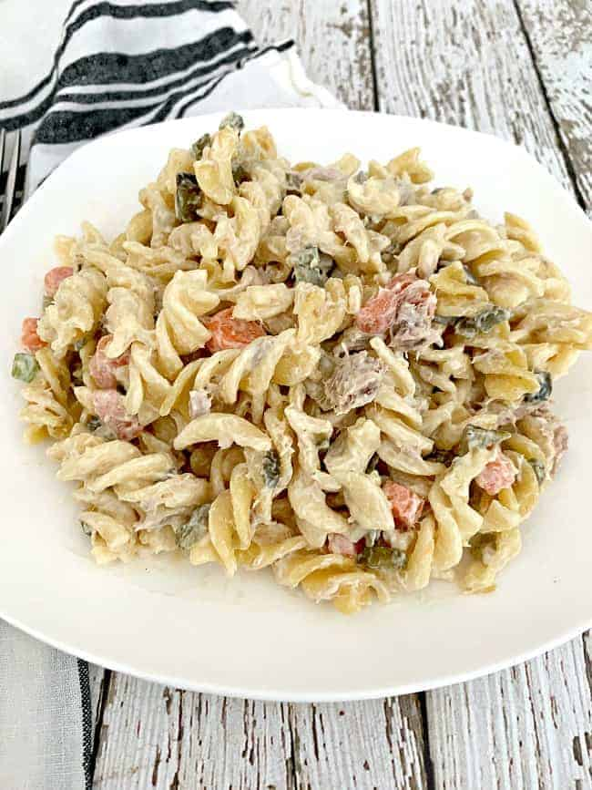 easy tuna pasta salad on white plate