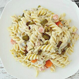 easy tuna pasta salad on white dish