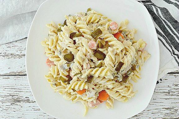 easy tuna pasta salad on white dish
